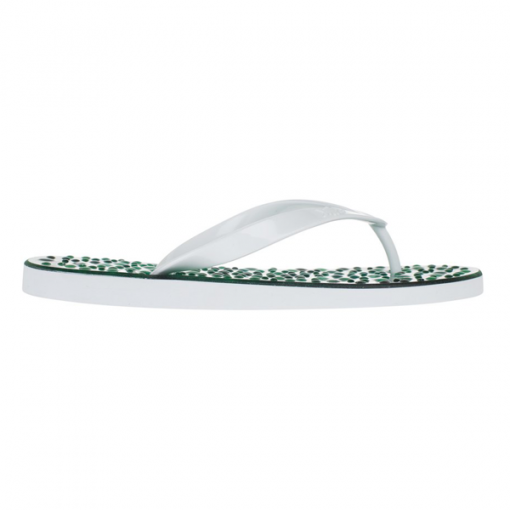 Emerald flip flops white straps side